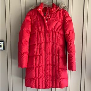 Eddie Bauer Red Down Puffer Coat with Fur Hood